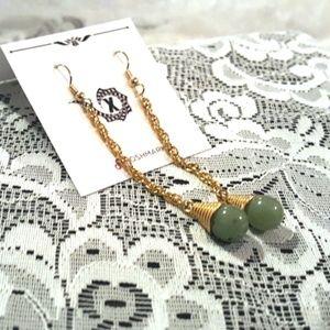 Brass Chain & Jade Drop Earrings